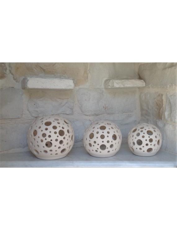 "Ceramic Tea Light Candle Lanterns ""Sphere"""