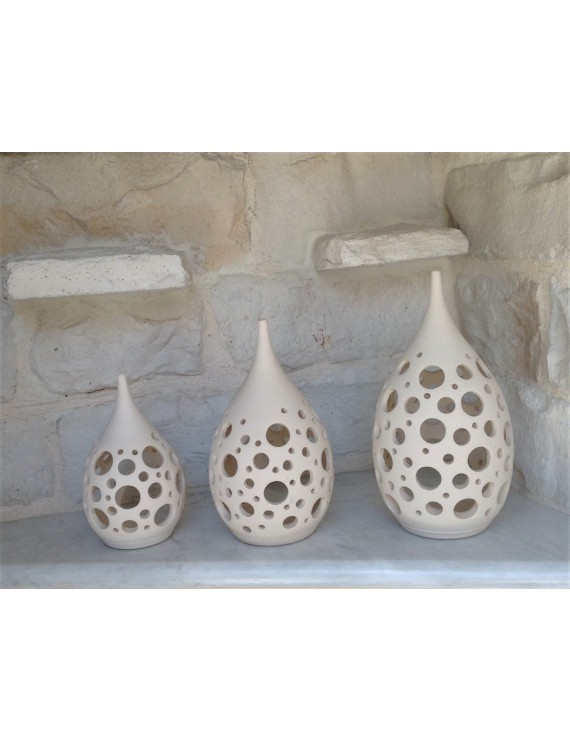 "Ceramic Tea Light Candle Lanterns ""Drop"""