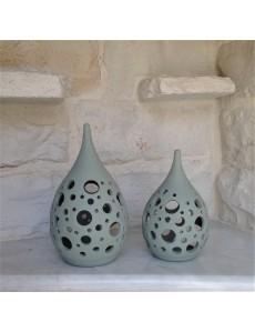 "Ceramic Tea Light Candle Lanterns ""Drops"""