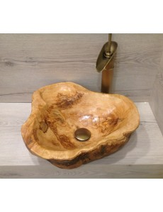 Handcrafted Bathroom Sink from Natural Olive Wood