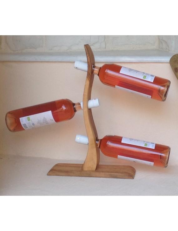 OLIVE WOOD WINE BOTTLE HOLDER (3 BTL)